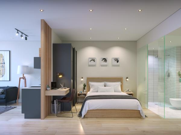 micro-apartment bedroom