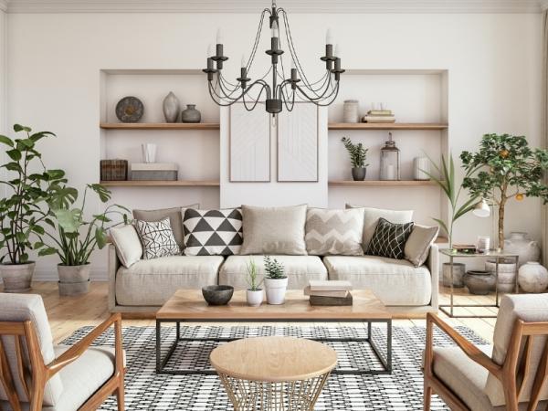 chandelier in cream living room