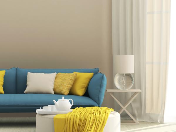 modern white table lamp in living room