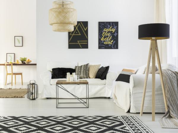 tall floor lamp in modern lounge area